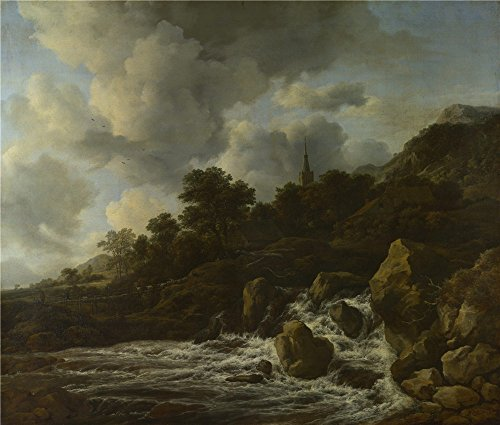 Oil Painting 'Jacob Van Ruisdael A Waterfall At The Foot Of A Hill Near A Village' 18 x 21 inch / 46 x 54 cm , on High Definition HD canvas prints, Dining Room, Laundry Room And Powder Room Decoration (Wicker Furniture Repair Miami)