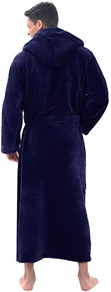 Zilosconcy Men Dressing Gown Fluffy with Hood Fleece Lightweight Bath Robe Towelling Robe MensLong Microfibre Adult Dressing Gown Sleeved Hood Coat