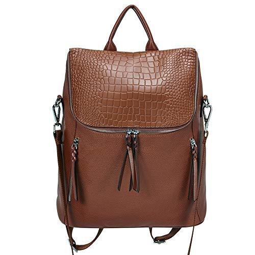 Genuine Leather Women Backpack Purse Fashion Large Designer Travel Ladies Shoulder Bag with Crocodile Flap Brown
