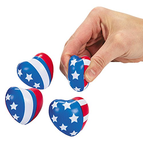 Fun Express - Mini Patriotic Heart Stress Toy (2dz) for Fourth of July - Toys - Balls - Relaxables - Fourth of July - 24 Pieces -