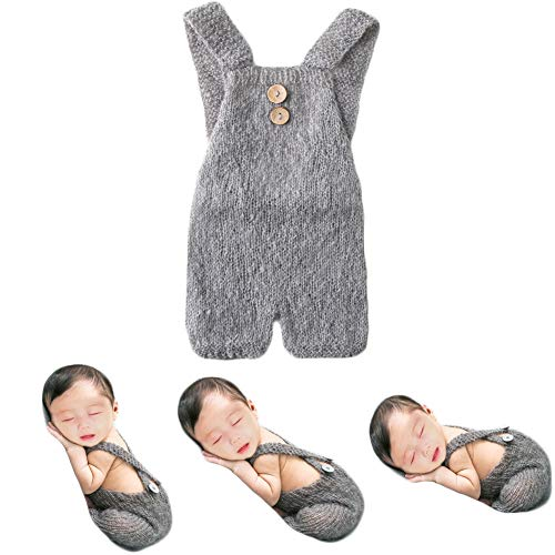 Baby Photography Props Boy Girl Photo Shoot Outfits Newborn Crochet Costume Infant Knitted Clothes Mohair Rompers (Grey) ()