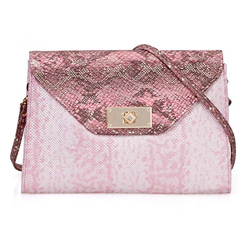Lined Clutch Snakeskin (BMC Fashionably Stylish Pink Metallic Faux Snakeskin Large Envelope Style Clutch - Goody Two Shoes)