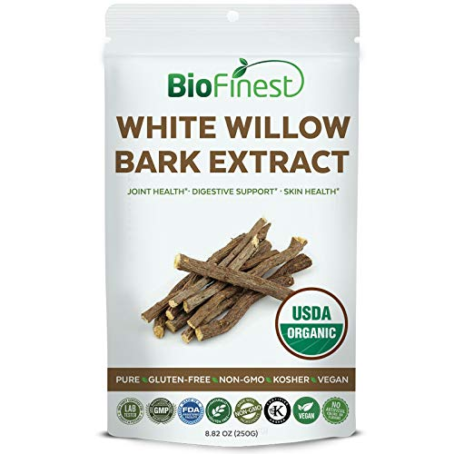 Biofinest White Willow Bark Extract Powder 1600mg - USDA Certified Organic Pure Gluten-Free Non-GMO Kosher Vegan Friendly - Supplement for Healthy Joint, Digestive Support, Skin Health (250g)