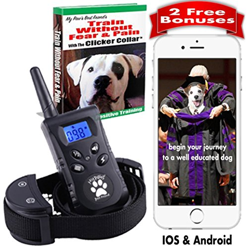Dog Training Collar With Remote. Shock Collar. Clicker Training for Puppies. 500 yards 100 levels. The Best No Bark Collar Training Book & App Pet Corrector & E Collar Dog Training