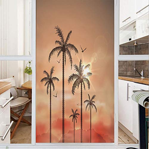 Decorative Window Film,No Glue Frosted Privacy Film,Stained Glass Door Film,Palm Trees with Dramatic Hazy Sky Clouds and Gulls Exotic Display Art,for Home & Office,23.6In. by 59In Coral Salmon Brown