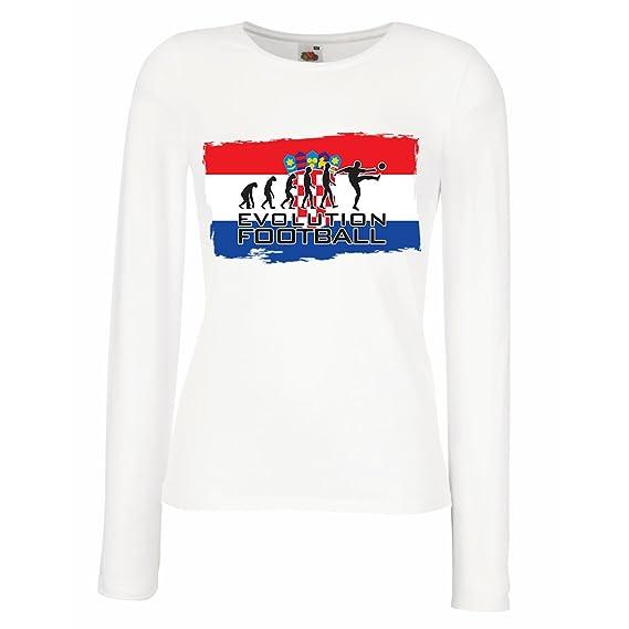 lepni.me Camisetas de Manga Larga para Mujer La Evolución del Equipo Nacional de Fútbol de Croacia, Copa Mundial 2018 Rusia: Amazon.es: Ropa y accesorios
