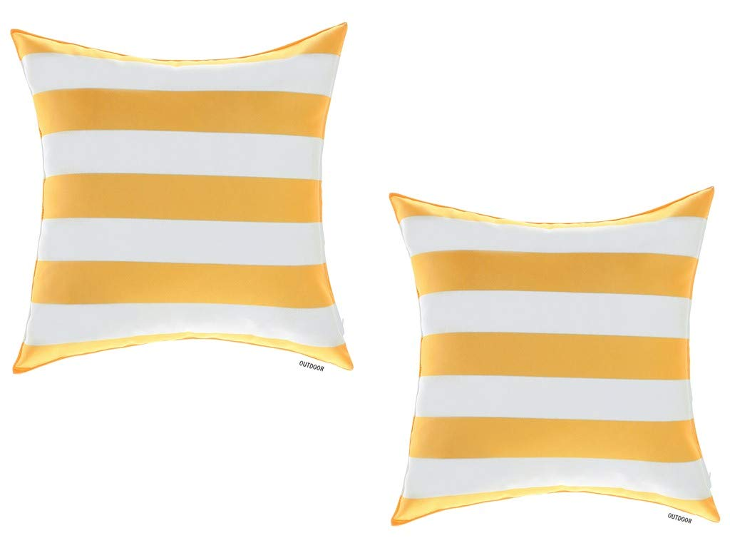ALEXANDRA S SECRET Patio Furniture Outdoor Decorative Pillow Cushion Cover, Set of 2, Zipper Closure, Classic Stripe Design, Water UV Fade Stain-Resistance 18 X 18 , Sunshine