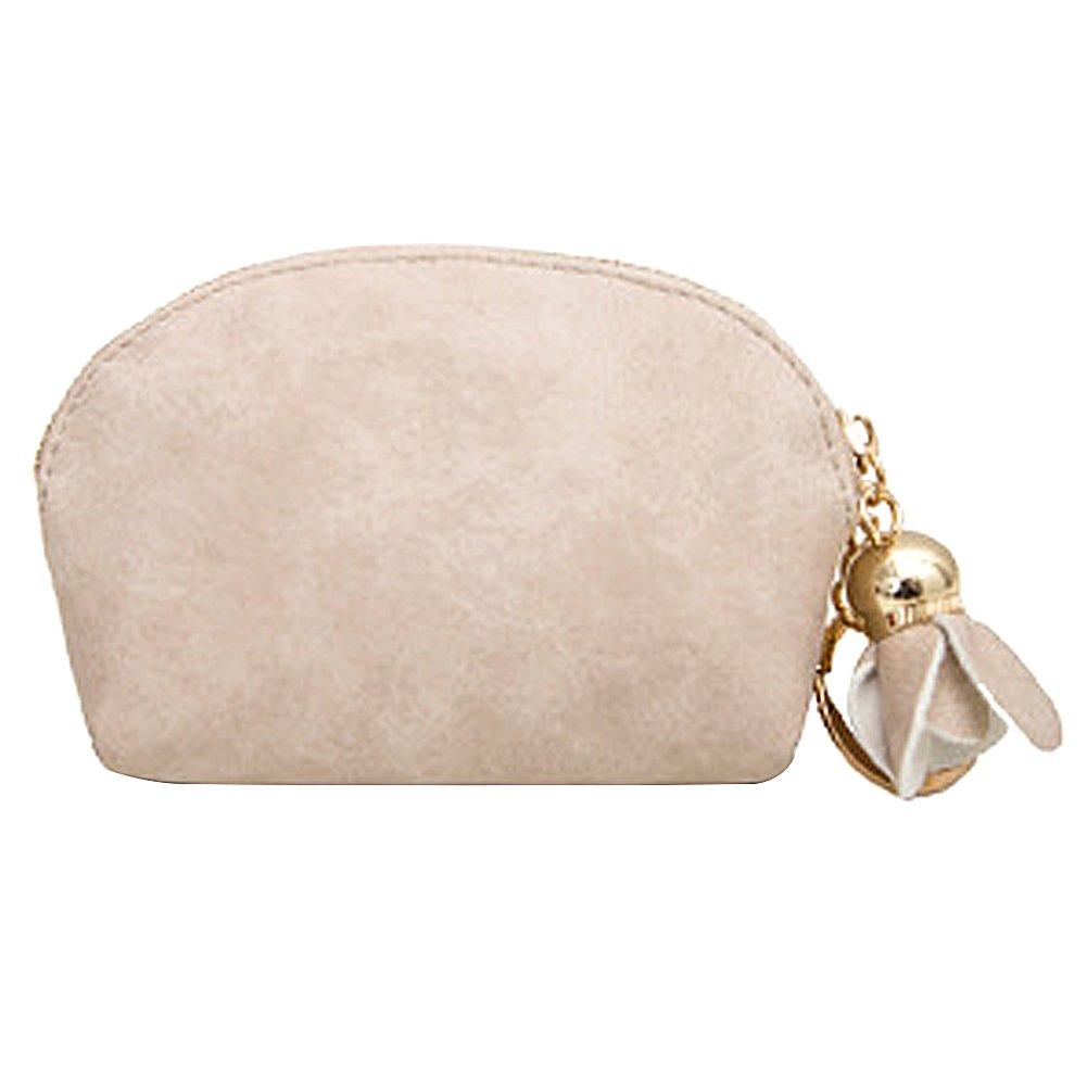 LQZ(TM) Femme Petit Porte Monnaie Zippé Mini Portefeuille Sac à Main Carte Pochette en PU Cuir avec Pendentif Fleur (beige)