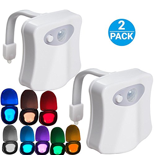 Toilet Night Light,(2Pack) by AUSAYE, Led Motion Activated Toilet Seat Light, Fit Any Toilet Bowl,Toilet Bowl Light with Two Mode 8 Color Changing Motion Sensor LED Washroom Night Light