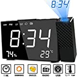 Projection Alarm Clock Abwei Digital FM Radio Alarm Clocks 180° Adjustable Projector with Thermometer Hygrometer Display Snooze Function USB Charging Port Bedside Projection Clock for Bedroom Office