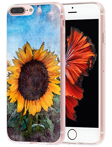Sunflower Protective Case (Iphone 7 Plus Case MUQR Iphone 8 Plus Case & Iphone 7 Plus Case Cover Silicone Rubber Protective Vintage Sunflower Theme)