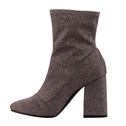 CAPE ROBBIN FH76 Women Glitter Leatherette Block Heel Bootie Mauve upsqYWOR