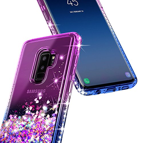 Galaxy S9 Plus Case w/[Full Coverage Screen Protector HD], NageBee Glitter Liquid Quicksand Floating Shiny Sparkle Flowing Bling Diamond Luxury Clear Cute Case For Samsung Galaxy S9 Plus -Purple/Blue by NageBee (Image #3)