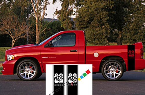 2 X stickers Truck Bed or Car Stripe Compatible with Dodge Hemi turbo Ram pick (Tribal Hood Number)