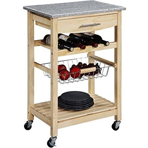 Granite Top Natural Kitchen Island Cart with 4-Bottle Wine Storage Rack by Linon Home Decor Products Inc (Image #2)