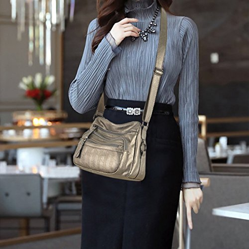 Hobo Crossbody Compartments amp; Women Handbag Elderly Sophisticated Bronze Multiple DORIS NICOLE for with AnFw4TAq
