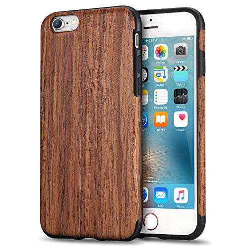 TENDLIN iPhone 6s Case/iPhone 6 Case with Wood Grain Outside Soft TPU Silicone Hybrid Slim Case for iPhone 6 and iPhone 6s (Red Sandalwood)