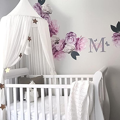 ivivian Mosquito Net Canopy, Dome Princess Bed Canopy Bedcover Curtain Tent Children's Room Decorate for Baby Kids Indoor Outdoor Playing Reading 240cm (White)