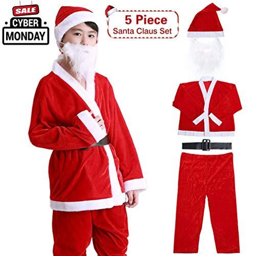 Santa Suit For Men Christmas Costumes Kids Santa Clause Plush Boy's Flannel Crawl Xmas Suit ()