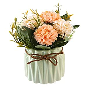 Pawaca Artificial Flower Ceramic Vases - Silk Flowers in Vase - Creative Ceramic Basin Hydrangea Flower Bouquet Pot Flowerpot for Home Living Room Wedding Party Garden Decor 42