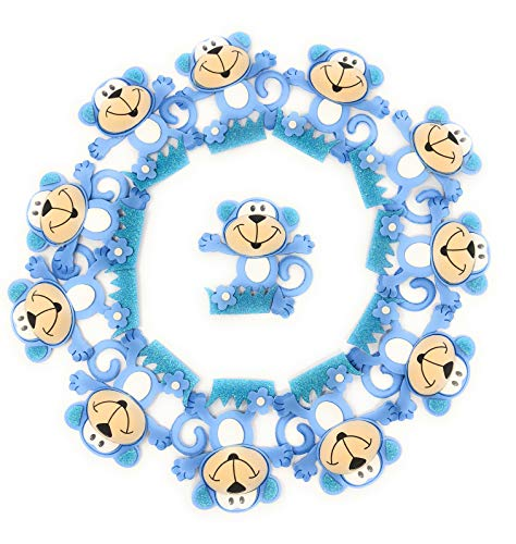 Baby Shower Decorations for Boy Blue Monkey Baby Shower, Center Table Decor, Party Favors, Banner, Birthday Boys Party -