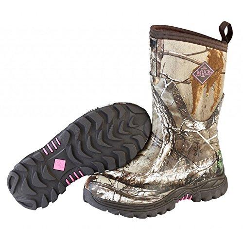 Muck Boot Women's Arctic Hunter Mid Snow Boot, Bark/Realtree/Phlox Pink, 10 M US