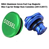 2013-2017 Dodge Ram Diesel Magnetic Billet Aluminum Fuel Cap and Blue Cap Combo