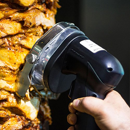 Huanyu Doner Kebab Slicer Electric Kebab Knife Kebab Shawarma Gyros Cutter (110V, with Serrated + Round Blade) by Huanyu (Image #4)