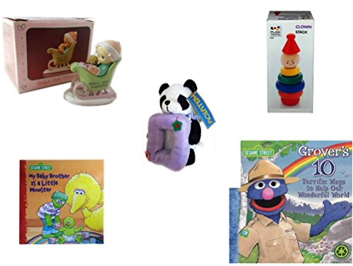 Precious Stacks - Children's Gift Bundle - Ages 0-2 [5 Piece] Includes: Precious Moments Baby's First Christmas Miniature Figurine Child in Sleigh, Clown Stack, Kellytoy Panda Bear Photo Frame Plush 7