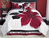 10 Pieces MARISOL Red Black White Comforter Bed-in-a-bag Set FULL (Double) Size Bedding+Sheets+Accent Pillows