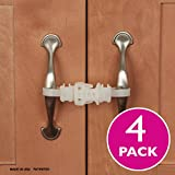 Kiscords Baby Safety Cabinet Locks For Handles Child Safety Cabinet Latches For Home Safety Strap For Baby Proofing Cabinets Kitchen Door RV No Drill No Screw No Adhesive /4 Pack (White)