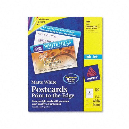 Avery : Inkjet-Compatible Postcards, 4 x 6, Two Per Sheet, 100 Cards per Pack -:- Sold as 2 Packs of - 100 - / - Total of 200 Each