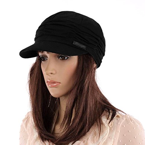 S&M TREADE Fashion Ladies Womens Travel Drap Layers Beret Beanie Hat Knitted Peaked Cap (Black)