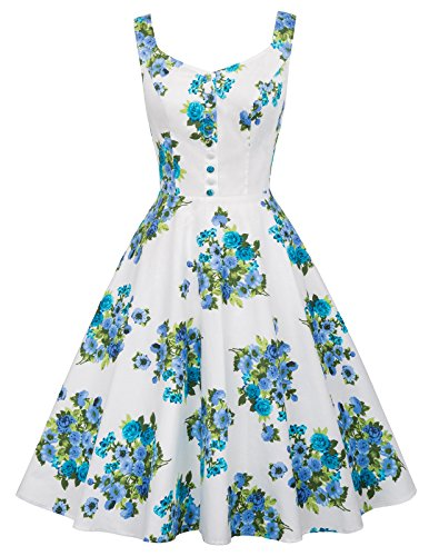 Belle Isle Dress - Belle Poque Vintage 1950s A Line Cocktail Dress M BP416-1 White Floral