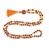 Buddhist Prayer Mala Beads 108+1 Rudraksha Carnelian Yoga Malabeads Necklace