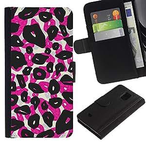 A-type (Leopard Spots Animal Pink Black) Colorida Impresión Funda Cuero Monedero Caja Bolsa Cubierta Caja Piel Card Slots Para Samsung Galaxy S5 Mini (Not S5), SM-G800