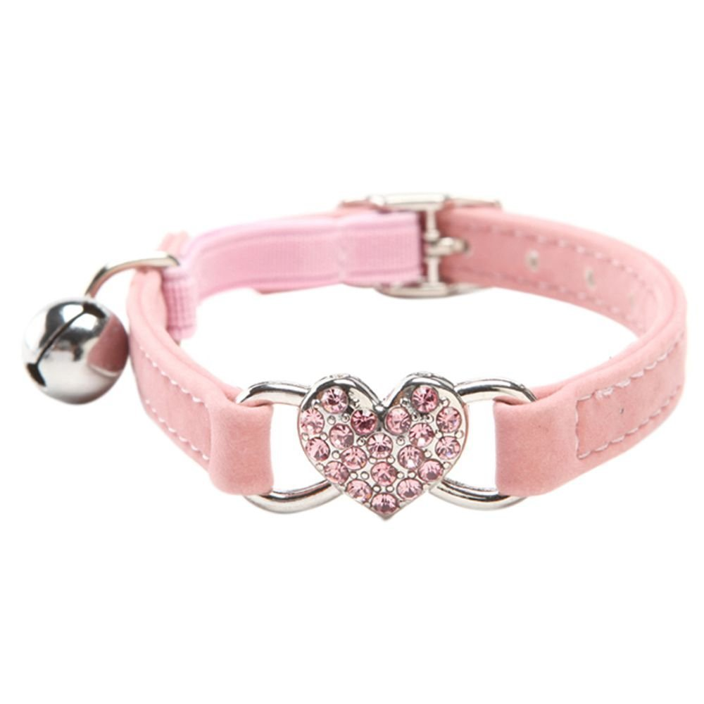 SODIAL(R) Heart charm and bell cat collar safety elastic adjustable with soft velvet material collar pet product small S pink