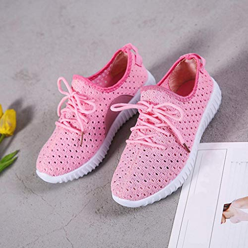 Mesh Canvas Comfortable Outdoor Lace Shoes Autumn Sports Casual Pink up Running Women Soles Luoluoluo Shoes Shoes vwYnqYd