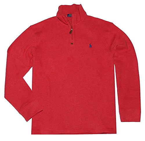Polo Ralph Lauren Mens Half Zip French Rib Cotton Sweater  Red 2017 L