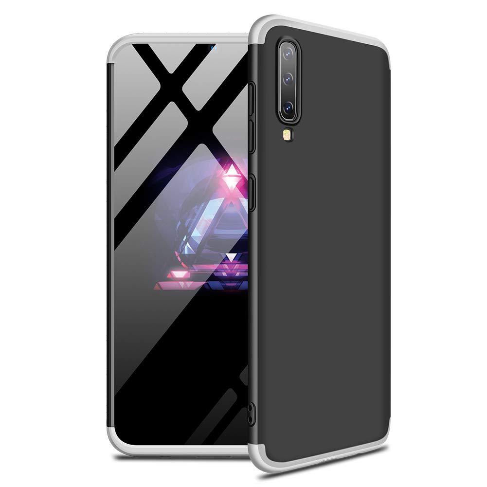 MISSDU reemplazo para Funda Samsung Galaxy A70 2019 360 Carcasa Exact Slim de protecci/ón Completa y Protector de Pantalla de Vidrio Templado Negro Plateado