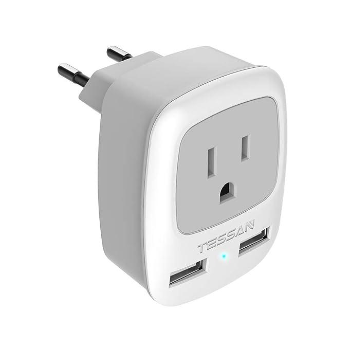 TESSAN Stromadapter Adapter USA Deutschland Stecker mit 2 USB(2.4A), Reiseadapter Wand Ladegerät, USA Japan auf European Deut