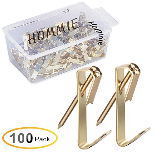 Hommie 100 Pcs Heavy Duty 30lbs Picture Hangers with Nails Photo Picture Frame Hooks Professional Picture Hanging Kit on Wooden/Drywall Hanging Solution Hardware for Canvas,Office,Clock,Mirror(30LB) (Picture Frames Hangers)