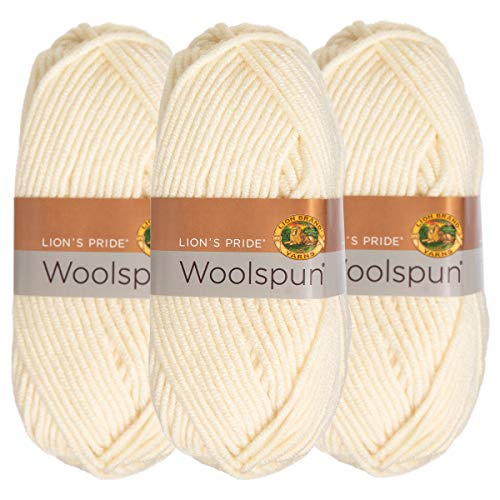 Lion Brand (3 Pack) Woolspun Acrylic & Wool Soft Fisherman White Yarn for Knitting Crocheting Bulky #5