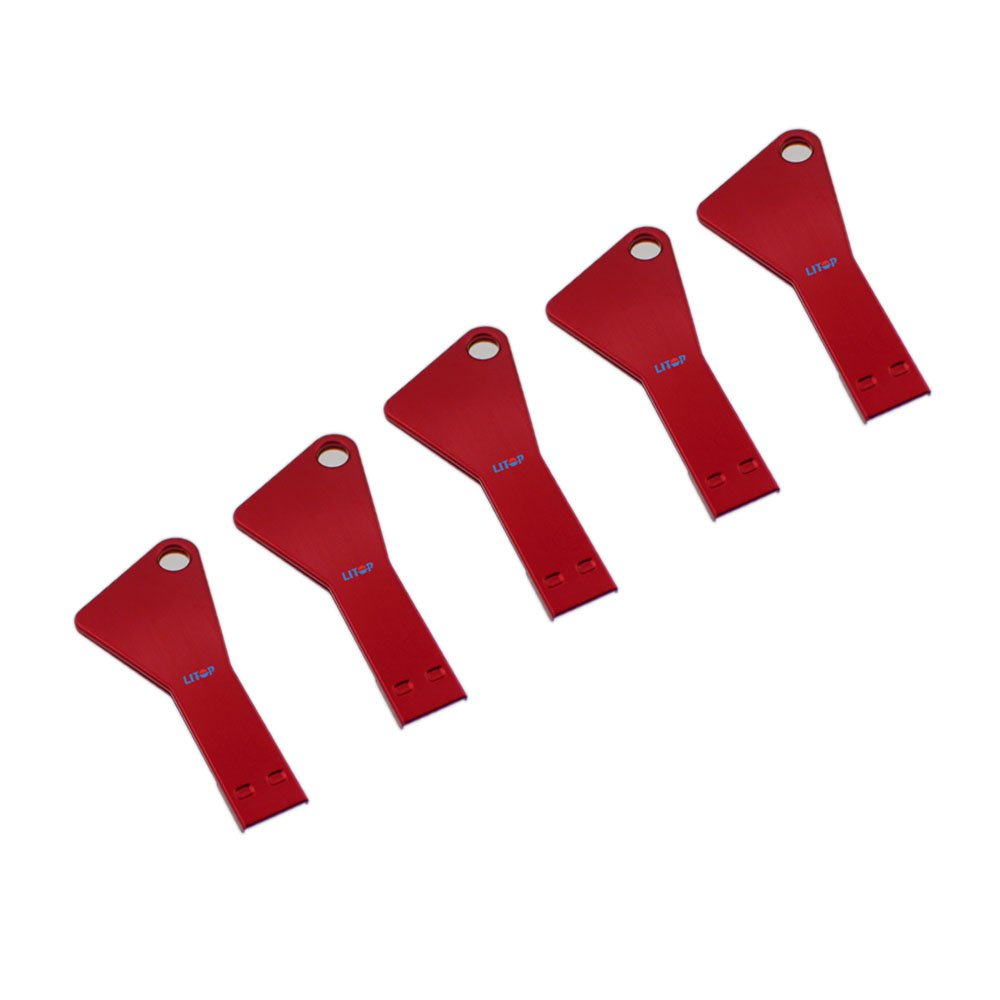 Litop 64GB Metal Key Triangle Shape USB 2.0 Memory Disk U Disk USB Flash Drive for High Quality Transfer Data (5 PCS Red, 64GB)