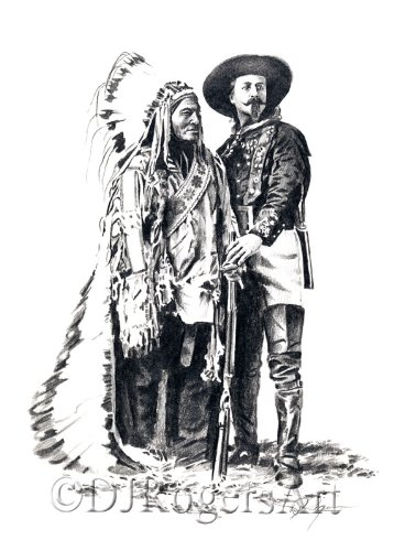 Buffalo Bill and Sitting Bull Pencil Drawing Art Print by Artist DJ (Buffalo Bills Pencil)
