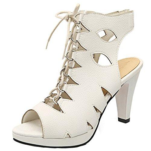 TAOFFEN Mujer Peep Toe Sandalias Clasico Tacon De Embudo Tacon Alto Plataforma Cordones Gladiador Zapatos Blanco