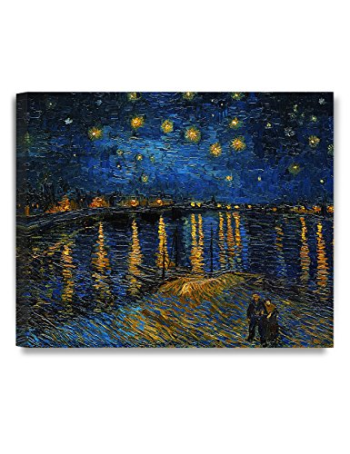 DecorArts - Starry Night Over The Rhone, by Vincent Van Gogh. The Classic Arts Reproduction. Art Giclee Print On Canvas, Stretched Canvas Gallery Wrapped 24x20