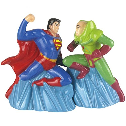 Westland Giftware Magnetic Ceramic Salt and Pepper Shaker Set, 4-Inch, DC Comics Superman Vs Lex Luther, Set of 2 (Valentinesday Gifts For Men)