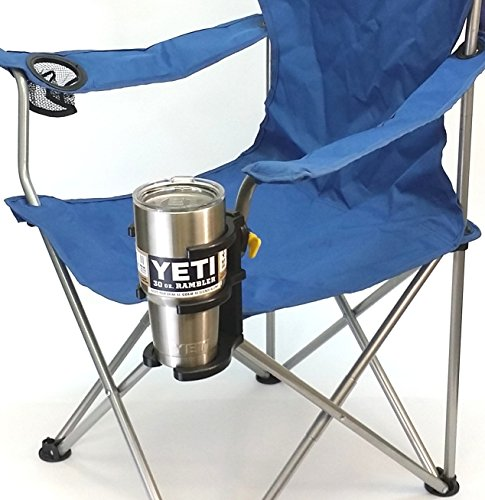 "Universal Tumbler Holder (UTH) for all YETI style stainless steel tumblers.Holds coffee cups, wine stemware, and all drink containers. Gimbaled - attaches to tubes or poles, 5/8"" – 1-3/8"". (Style Stemware)"