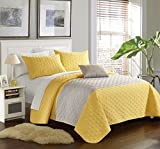 Chic Home 4 Piece Ellias Geometric Quilting Embroidery King Quilt Set Yellow Shams and Decorative Pillows included